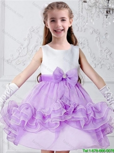 2016 Pretty Bowknot Mini Length Multi Color Flower Girl Dresses with Scoop