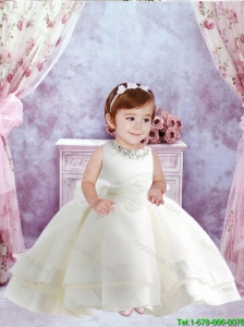 Cute Ball Gown Beaded and Bowknot Little Girl Dresses in White