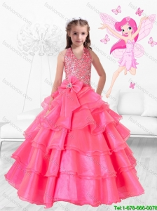 Perfect Hand Made Flowers Rose Pink Mini Quinceanera Dresses with Halter Top