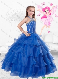 Popular Halter Top Little Girl Mini Quinceanera Dresses with Ruffled Layers