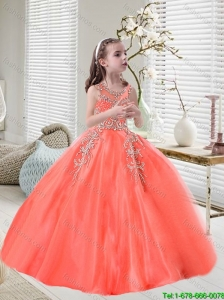 Elegant Orange Red Scoop Mini Quinceanera Dresses with Appliques