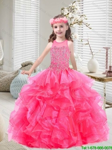 New Style Beaded and Ruffles Mini Quinceanera Dresses in Hot Pink