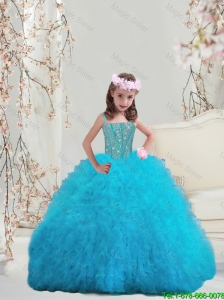Perfect Beaded and Ruffles Spaghetti Mini Quinceanera Dresses in Turquoise