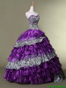 2016 New Arrival Sweetheart Quinceanera luxurious Dresses with Ruffled Layers
