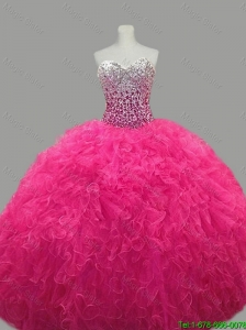 2016 Puffy Sweetheart Hot Pink Quinceanera Dresses with Beading and Ruffles