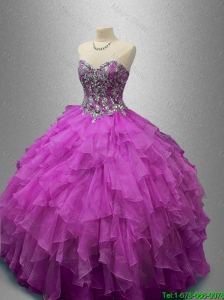 2016 Elegant Ball Gown Sweet 16 Dresses with Beading and Ruffles