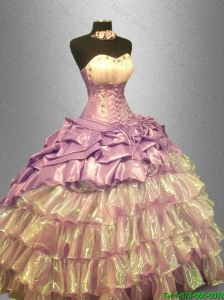 2016 Flirting Sweetheart Luxurious Quinceanera Dresses with Beading and Ruffled Layers