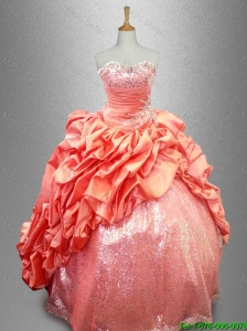 2016 Gorgeous Strapless Sequins and Pick Ups Quinceanera Gowns in Taffeta