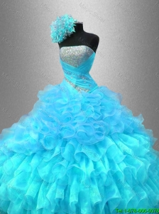 2016 New arrival Popular Strapless Sequined Sweet 16 Gowns with Ruffles