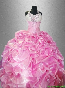 2016 Perfect Halter Top Quinceanera Dresses with Pick Ups and Hand Made Flowers