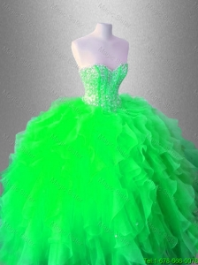 New arrival Beaed Latest Quinceanera Gowns with Ruffles for 2016