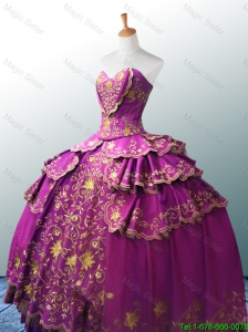 2016 Beautiful Sweetheart Ball Gown Fuchsia Quinceanera Dresses with Appliques
