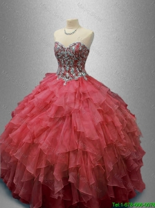 2016 Elegant Beautiful Beaded and Ruffles Quinceanera Gowns in Organza