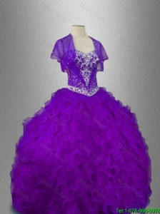 2016 Elegant Best Selling Beaded Sweetheart Quinceanera Gowns in Purple