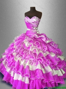 2016 Elegant Discount Beaded and Ruffles Sweet 16 Gowns in Multi Color