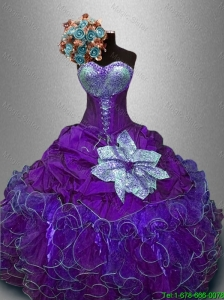 2016 Elegant New Arrivals Sequined Purple Sweet 16 Gowns with Ruffles