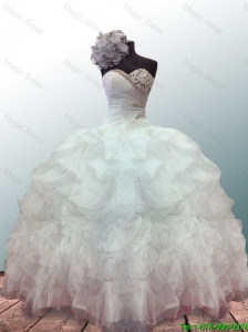 2016 Elegant New Style Sweetheart Ball Gown White Quinceanera Dresses with Beading and Ruffles