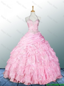 2016 Elegant Pretty Halter Top Pink Quinceanera Dresses with Appliques