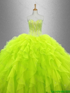 2016 Gorgeous Yellow Green Beautiful Quinceanera Dresses with Ruffles