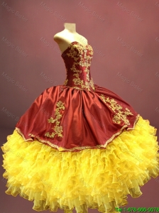 2016 New arrival Beautiful Wine Red and Yellow Sweet 16 Dresses with Appliques and Ruffles