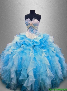 2016 New arrival Elegant Strapless Beaded and Ruffles Quinceanera Gowns in Multi Color