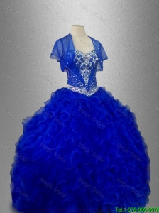 2016 New arrival Romantic Sweetheart Quinceanera Dresses with Beading and Ruffles in Blue