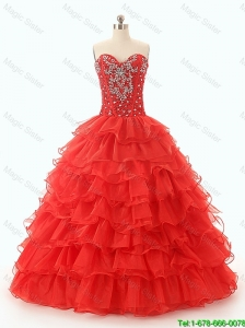2016 Popular Pretty Beaded and Ruffled Layers Quinceanera Dresses in Red