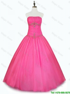2016 Pretty Cheap Strapless Hot Pink Quinceanera Dresses with Beading