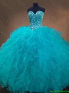 2016 Elegant Pretty Beaded and Ruffles Quinceanera Gowns in Aqua Blue