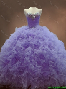 2016 Luxurious Classical Beaded Sweetheart Lavender Sweet 16 Gowns with Ball Gowns