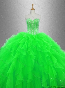 2016 New arrival Beaded and Ruffles Discount Sweet 16 Gowns with Sweetheart