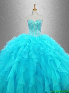 2016 New arrival Elegant Beaded Sweetheart Quinceanera Gowns in Aqua Blue