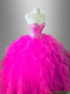 2016 New arrival Fashionable Ball Gown Ruffles Sweet 16 Gowns with Beading