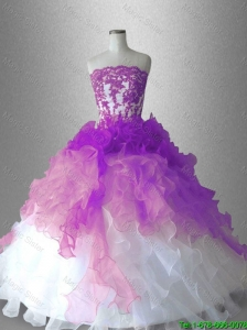 2016 New arrival Luxurious Strapless Appliques Quinceanera Gowns in Organza