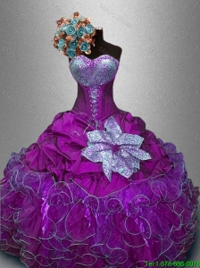 2016 New Style Gorgeous  Sweetheart Quinceanera Gowns with Sequins