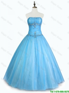 2016 Pretty Simple Strapless Beaded Quinceanera Dresses with Floor Length