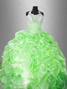 2016 New arrival Luxurious Halter Top Pick Ups Quinceanera Gowns in Spring Green
