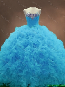 2016 Fashionable Beautiful Aqua Blue Ball Gown Quinceanera Gowns with Sweetheart