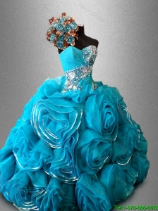 2016 Luxurious Artistic Sweetheart Quinceanera Dresses with Beading and Rolling Flowers