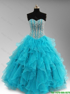 2016 New arrival Elegant Beaded and Ruffles Quinceanera Dresses in Aqua Blue