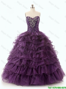 2016 New arrival Gorgeous Beautiful Dark Purple Quinceanera Dresses with Ruffled Layers