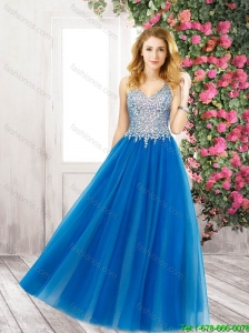 2016 Fashionable V Neck Floor Length Prom Dresses with Beading