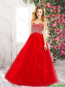 Cheap Sweetheart Tulle Red Prom Dresses with Beading