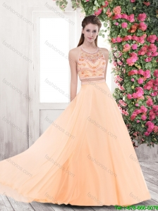 2015 Elegant Beaded Brush Train Prom Dresses with Criss Cross