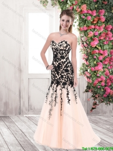 2015 Fashionable Appliques Brush Train Prom Dresses in Multi Color