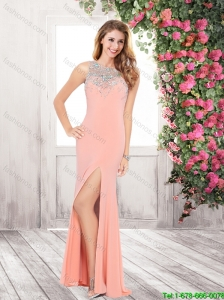 2015 Hot Sale High Slit and Beaded Prom Dresses with Brush Train