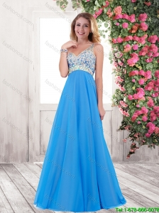 2015 Latest Empire Beaded Prom Dresses with One Shoulder