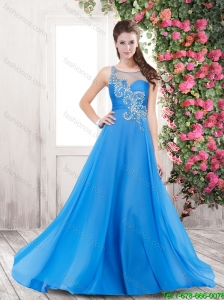 2015 New Arrivals Scoop Beaded Prom Dresses with Brush Train