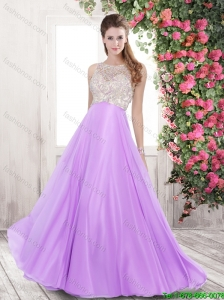2015 Pretty Bateau Open Back Brush Train Prom Dresses in Lilac