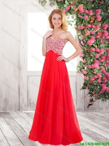 Beautiful Brush Train Beaded 2016 Prom Dresses in Red